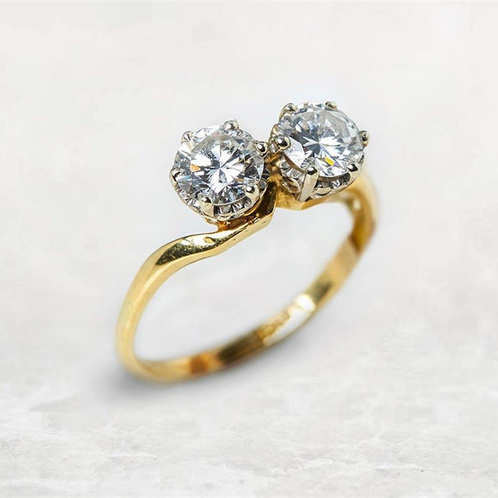 18k Yellow & White Gold Round Brilliant Cut 1.20ct Diamond 2 Stone Ring