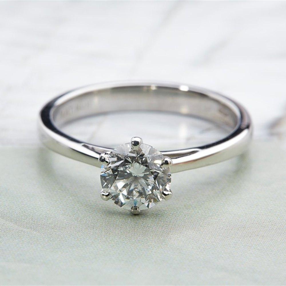 Platinum Round Brilliant Cut Solitaire 1.51ct Diamond Ring