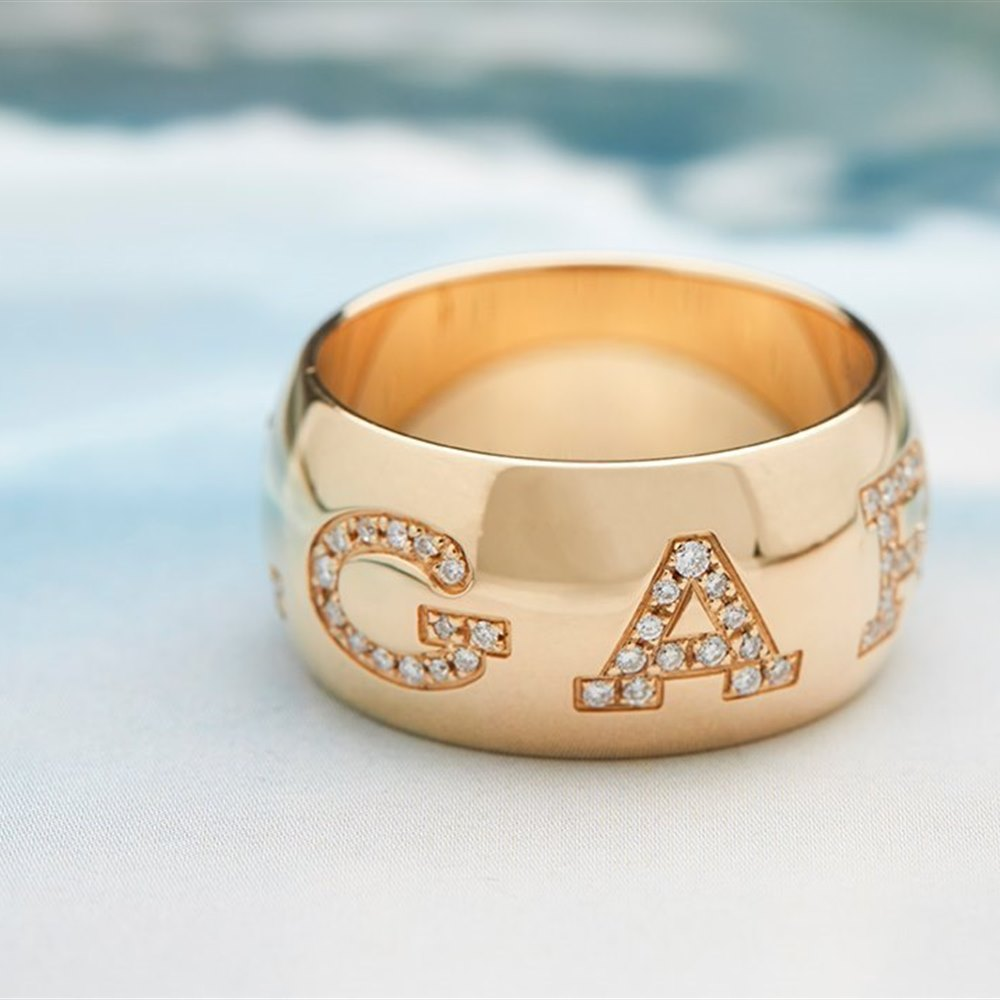 Bvlgari 18k Yellow Gold 0.50ct Diamond Monologo Ring
