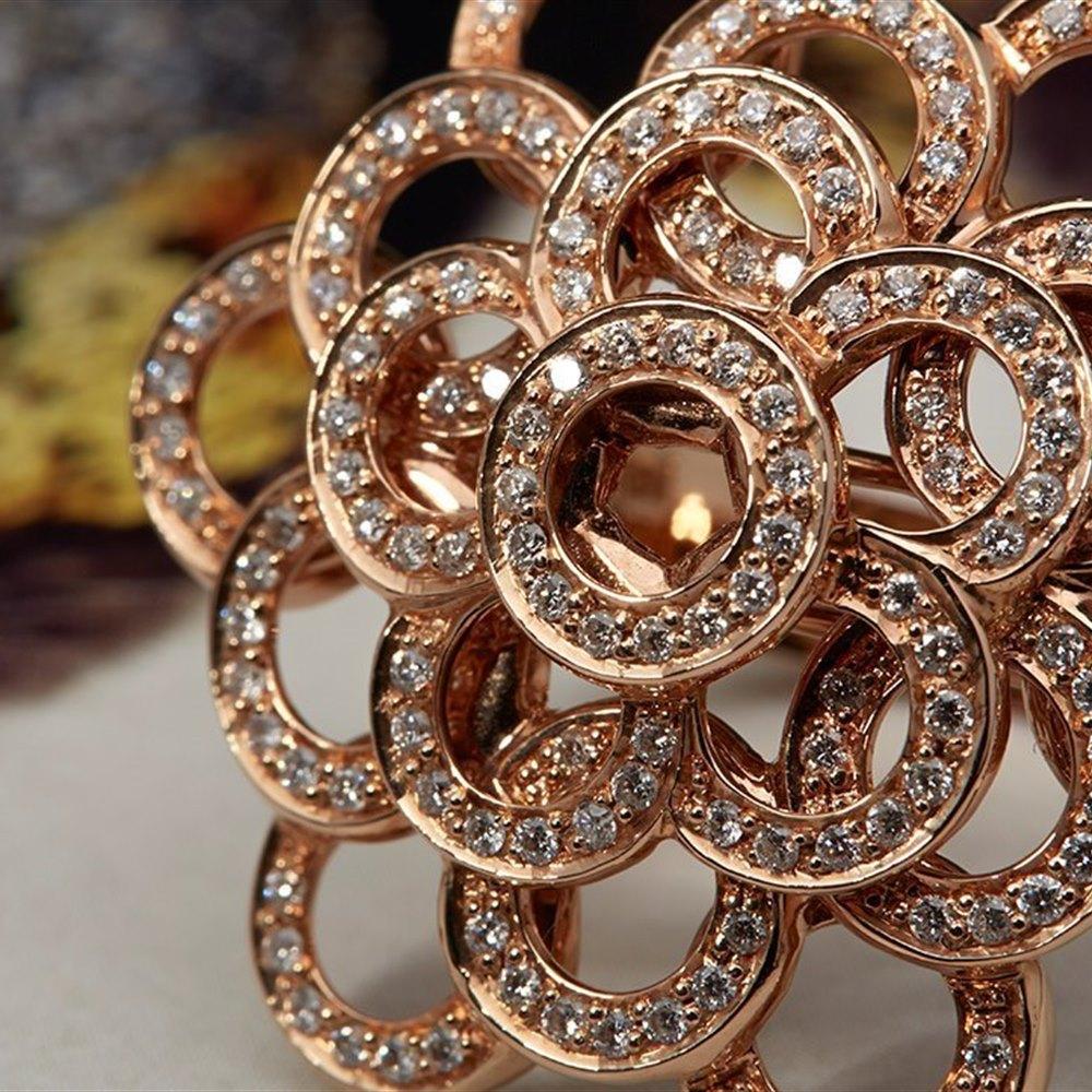Carla Amorim 18K Rose Gold 0.73cts Pave Diamond Ring Size L