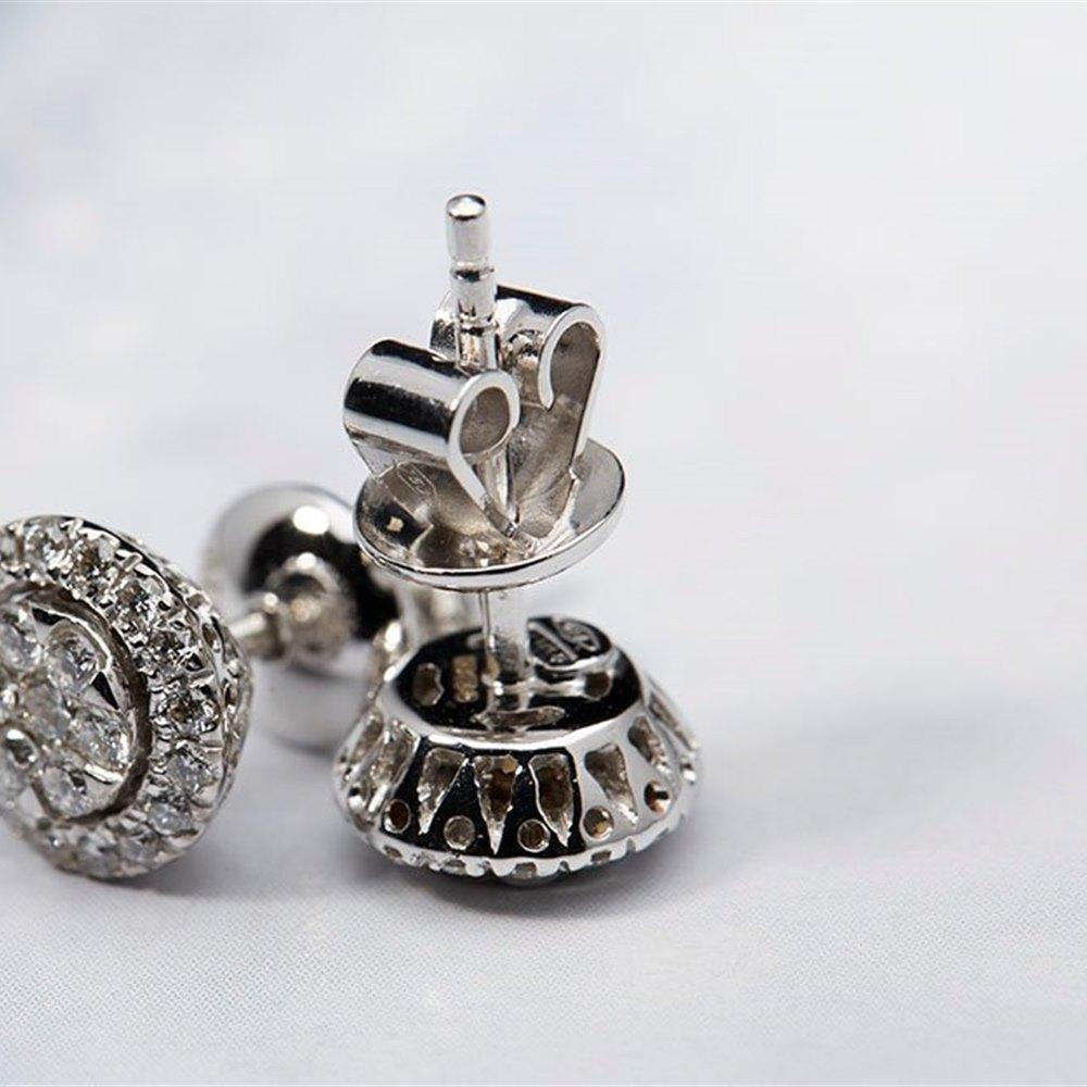 Mappin & Webb 18k White Gold 0.51ct Diamond Cluster Stud Earrings
