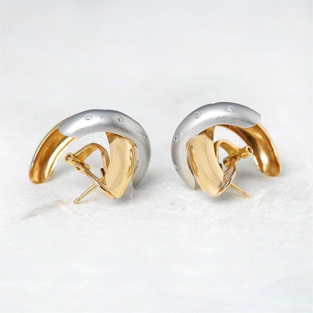 18k White & Yellow Gold 0.20ct Diamond Crossover Earrings