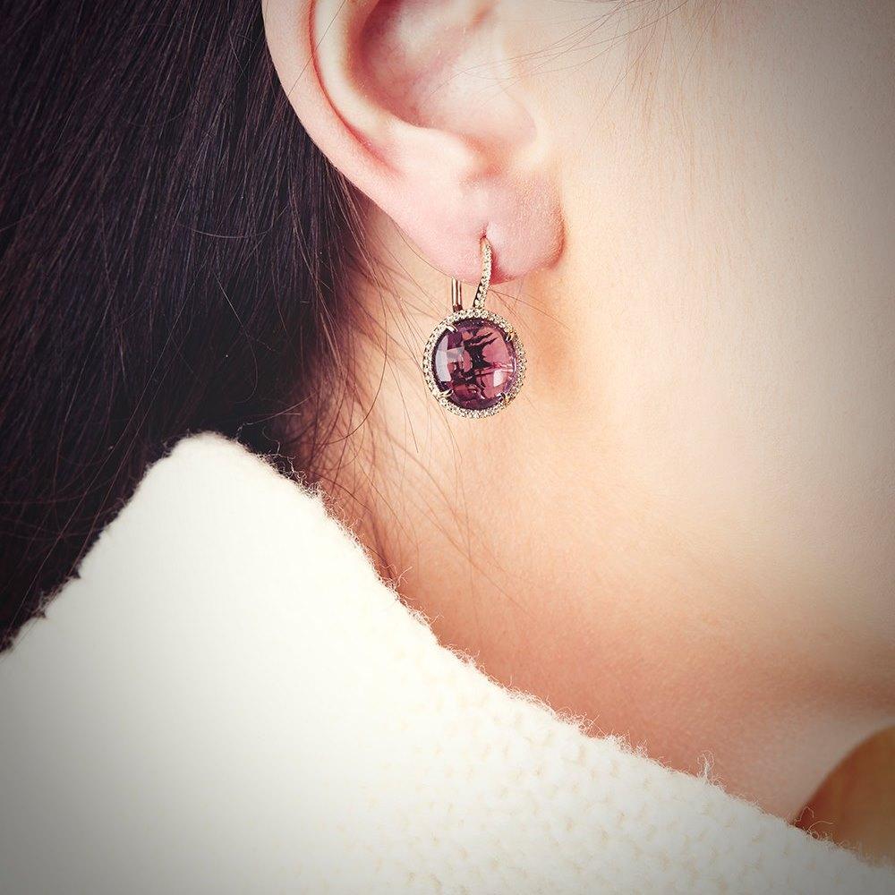 14K Yellow Gold 7.35cts Amethyst & Diamond Drop Earrings