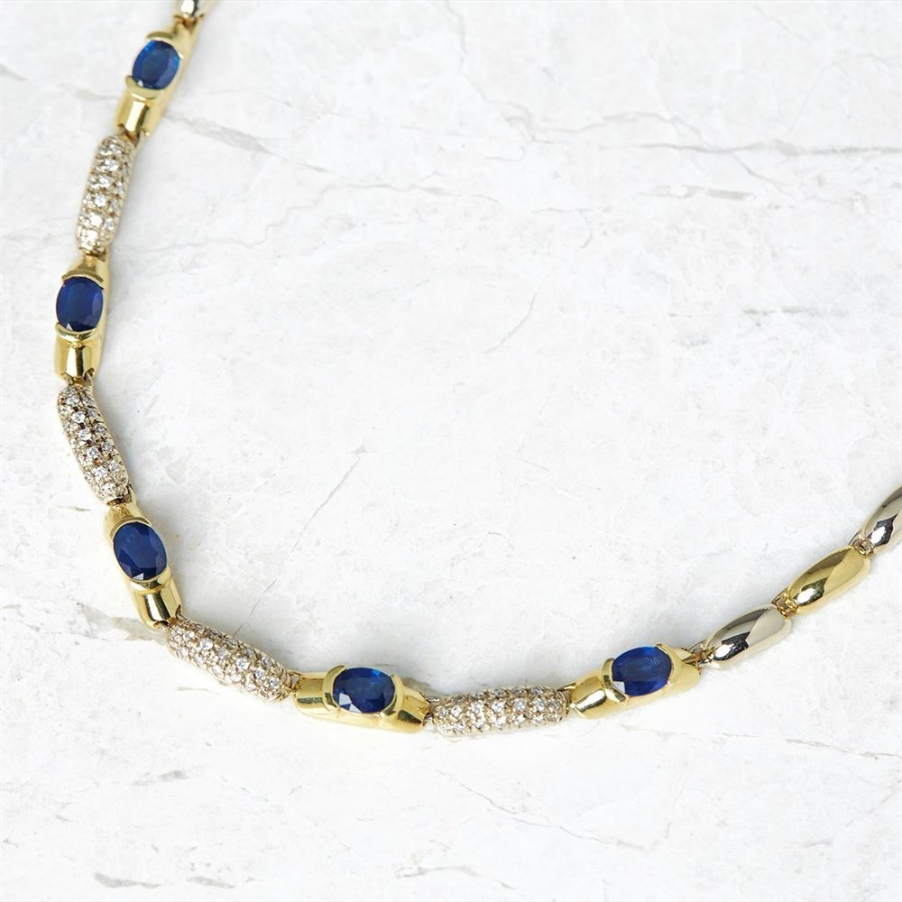 18k Yellow & White Gold 12.48ct Sapphire & 1.24ct Diamond Necklace, Bracelet & Earrings Suite