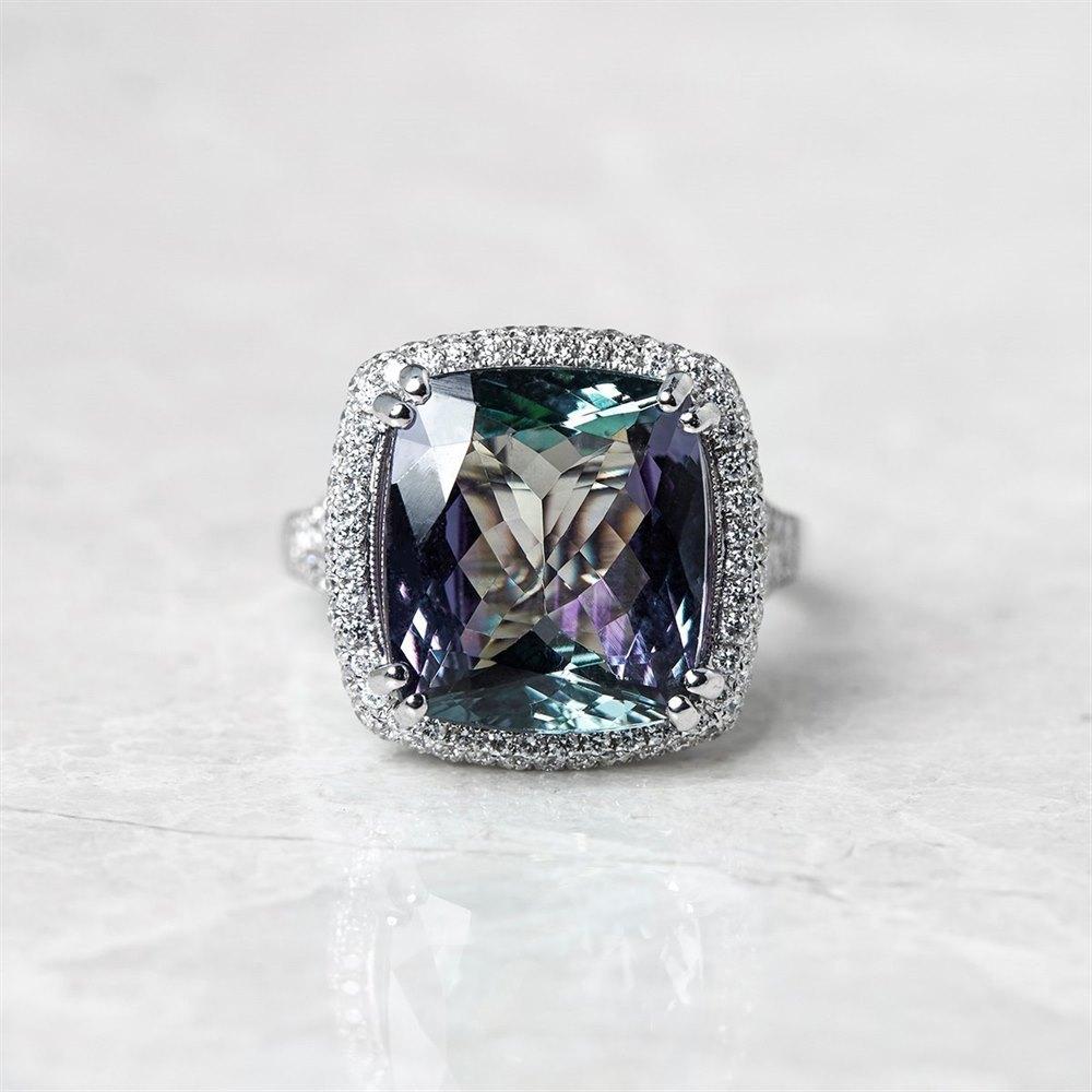 18k White Gold 8.62ct Tanzanite & 0.96ct Diamond Ring