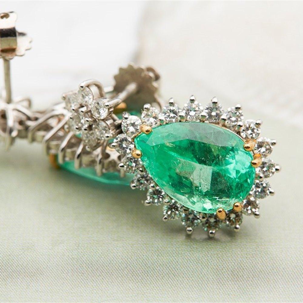 18k White Gold 9.00ct Colombian Emerald & 2.60ct Diamond Earrings