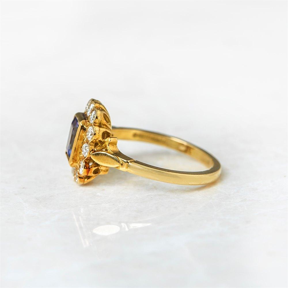 18k Yellow Gold Emerald Cut 0.40ct Tanzanite & 0.40ct Diamond Ring