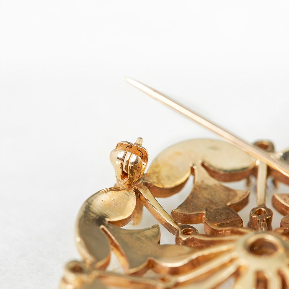 K. Goldschmidt 14k Yellow Gold 1.05ct Diamond & Pearl Brooch