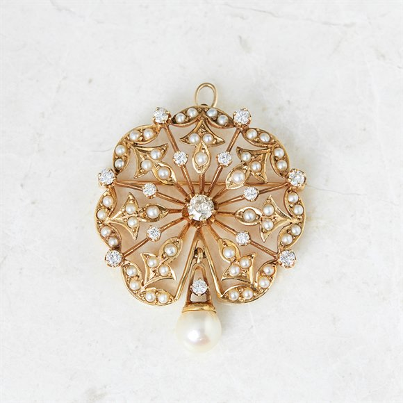 K. Goldschmidt 14k Yellow Gold 1.05ct Diamond & Pearl Brooch
