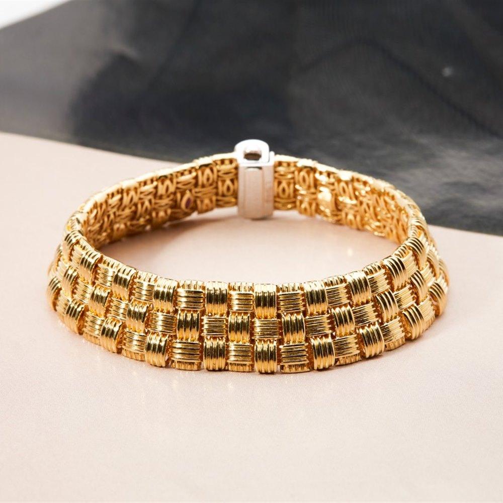 Roberto Coin 18K Woven Yellow Gold Bracelet with 18K White Gold Diamond Clasp