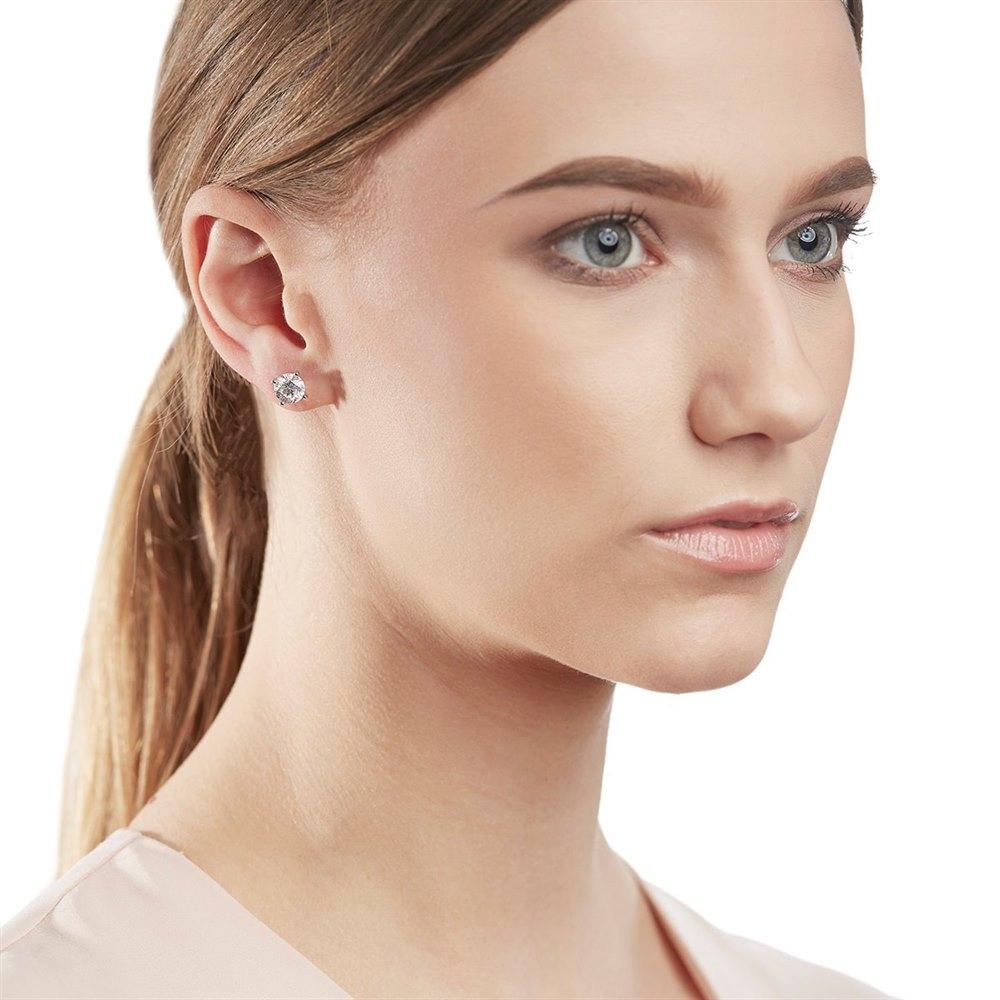 18k White Gold Round Brilliant Cut 3.05ct Diamond Stud Earrings