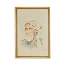 Middle Eastern Watercolour Portrait Of A Man By Mohamed Shaker C.1916