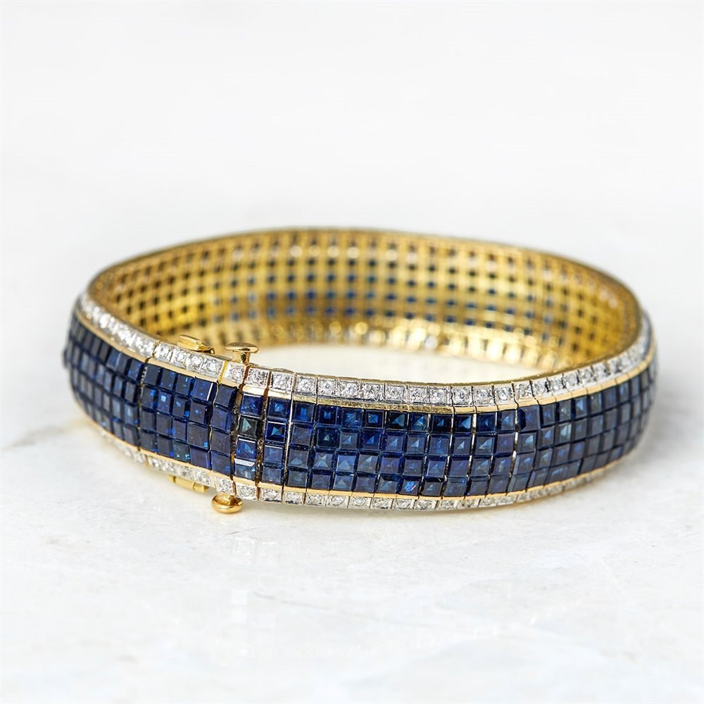 18k Yellow Gold 30.80ct Sapphire & 1.54ct Diamond Bracelet