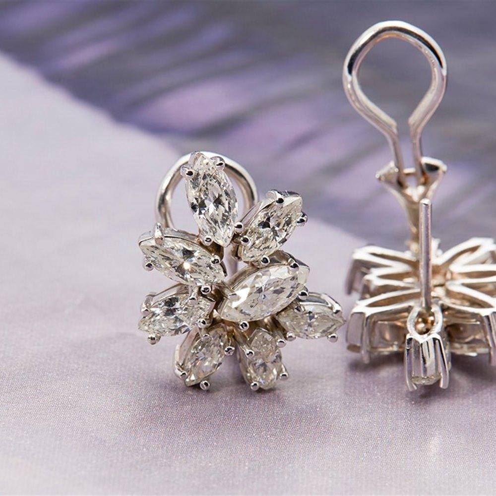 Platinum 1950's Vintage 3.50ct Marquise Cut Diamond Earrings