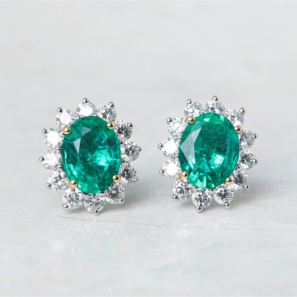 18k White & Yellow Gold 3.75ct Emerald & 1.66ct Diamond Stud Earrings
