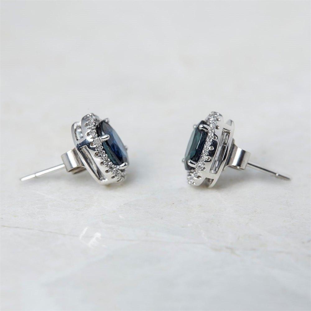 18k White Gold Oval Cut 3.46ct Sapphire & 0.31ct Diamond Stud Earrings