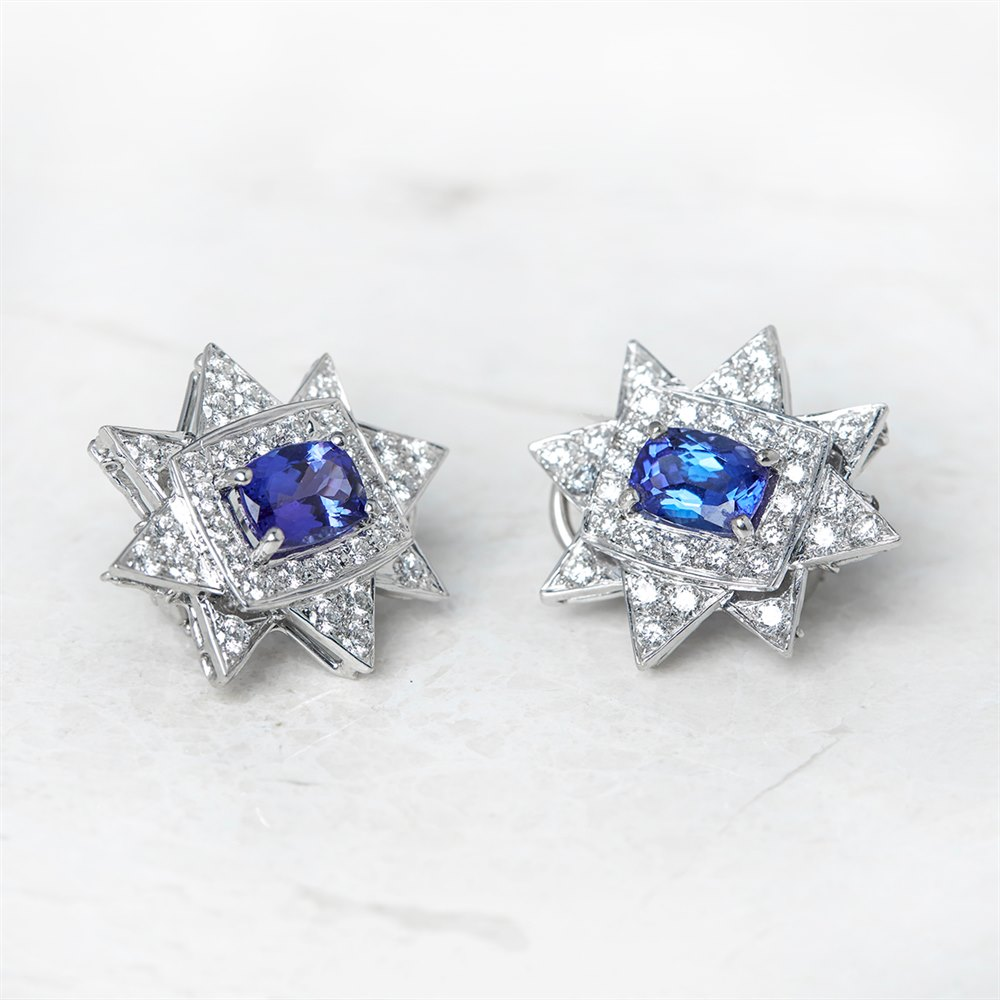 18k White Gold 3.00ct Tanzanite & 2.08ct Diamond Star Earrings