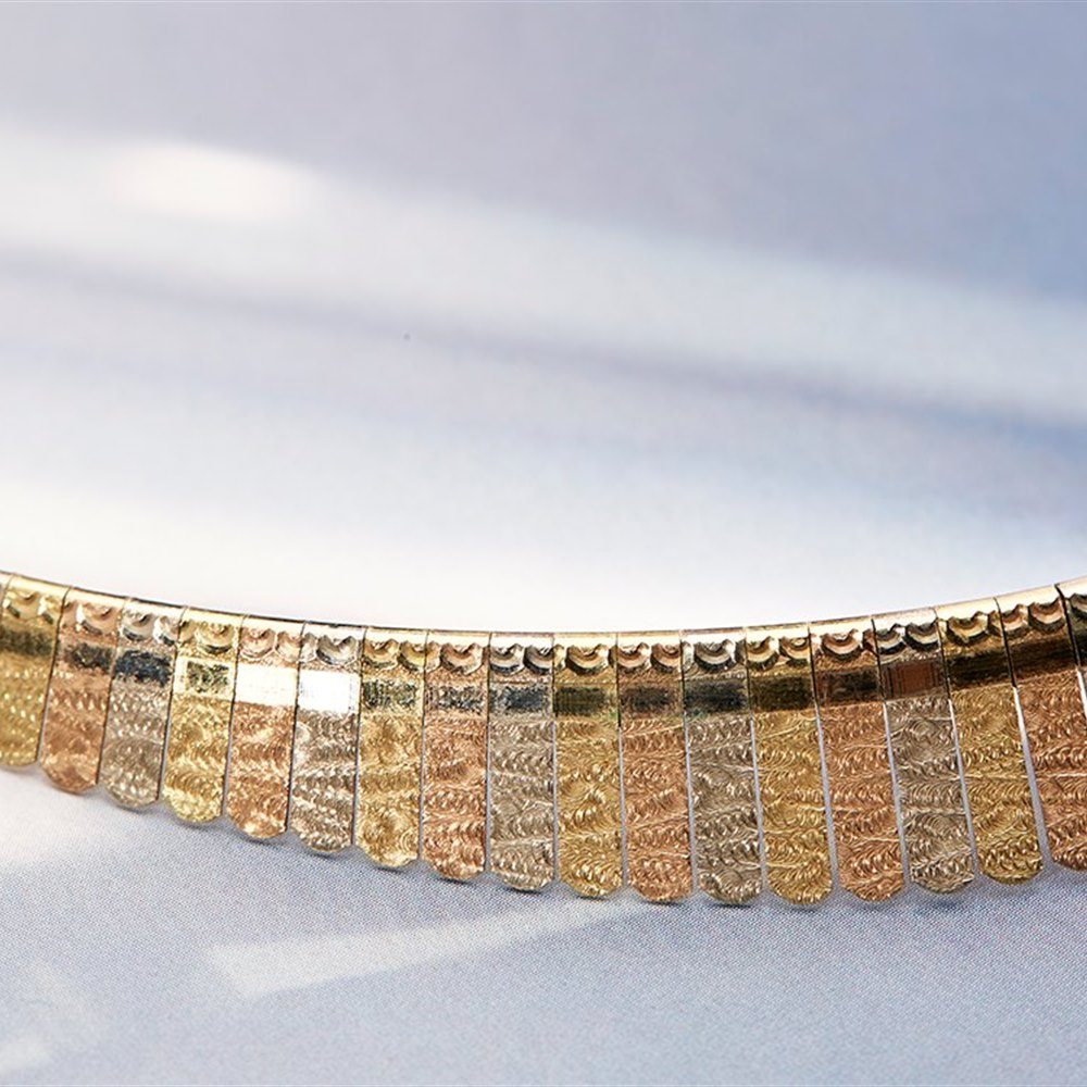 18k White, Yellow & Rose Gold Collar Necklace