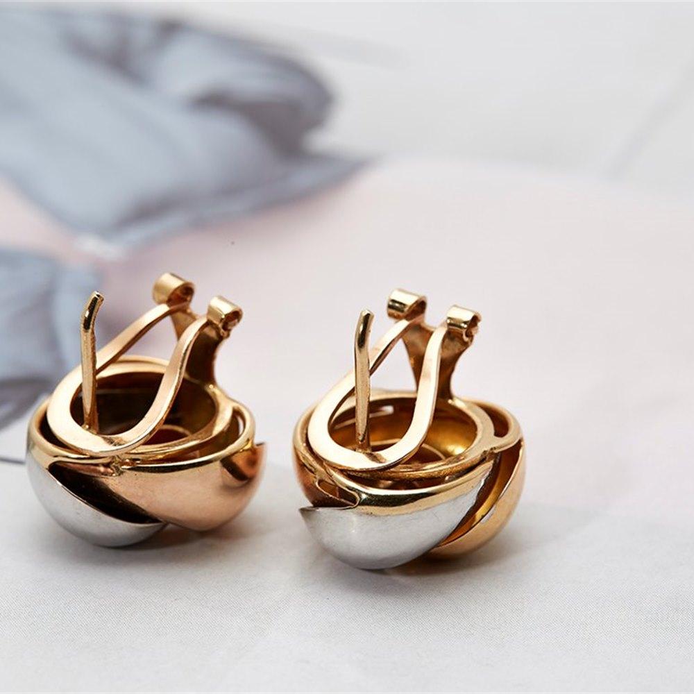 18k White Yellow & Rose Gold Knot Earrings