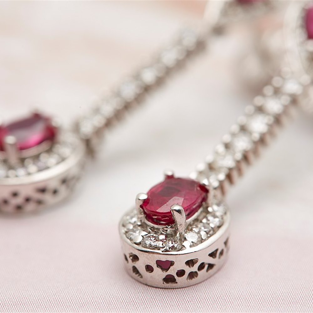 18k White Gold 2.00ct Ruby and 1.28ct Diamond Drop Earrings