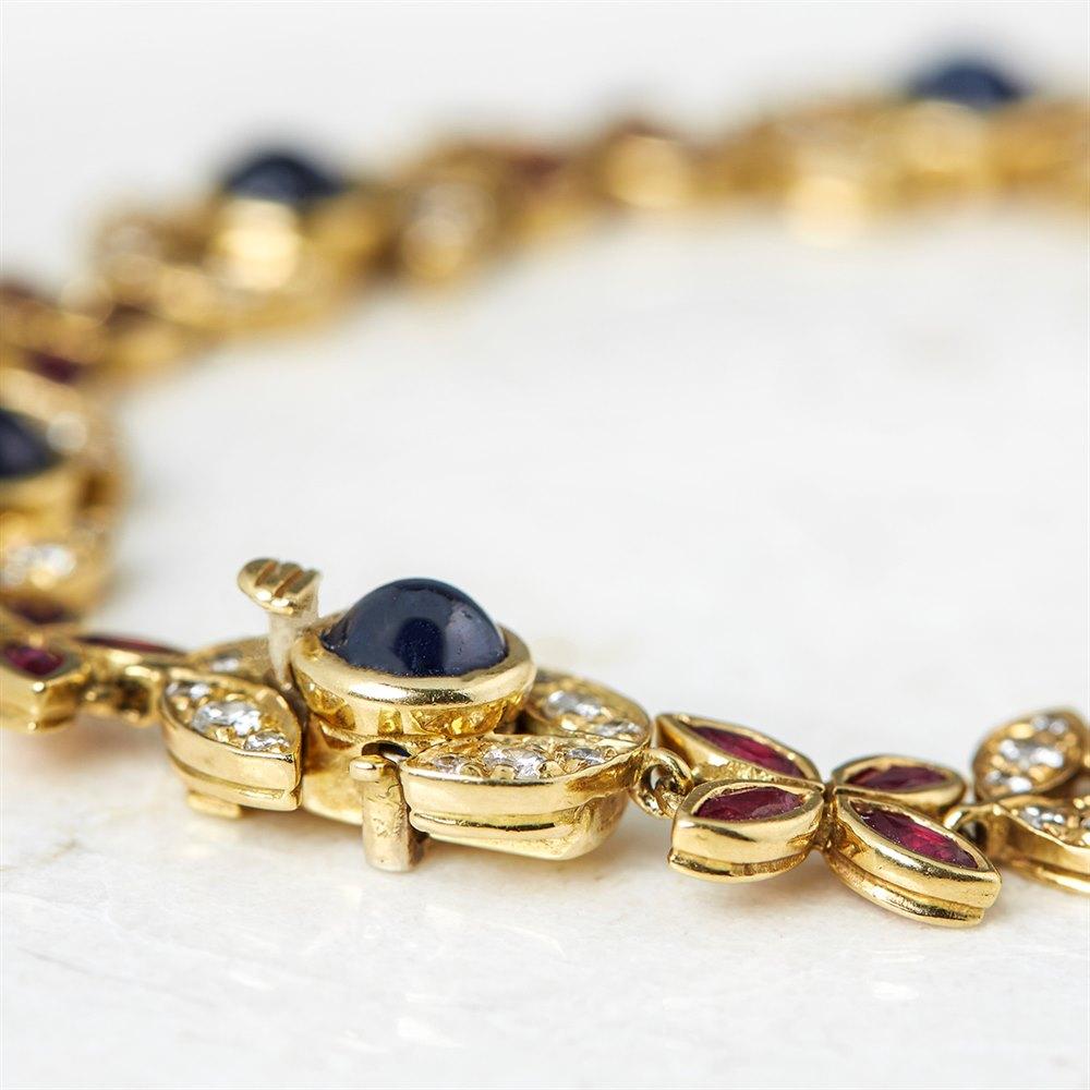 Fasoli 18k Yellow Gold 5.25ct Sapphire, 2.80ct Ruby & 1.40ct Diamond Bracelet