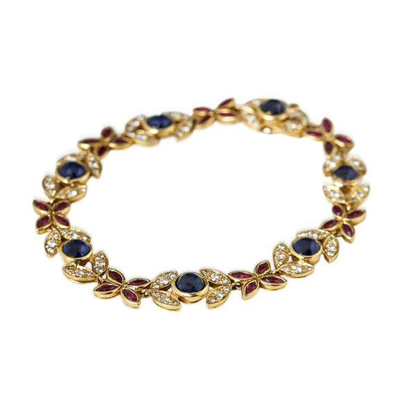 Fasoli 18k Yellow Gold 5.25ct Sapphire, 2.80ct Ruby & 1.40ct Diamond Bracelet