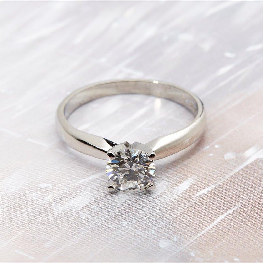 Platinum 1.104cts VS1 H Colour Round Brilliant Diamond Engagement Ring