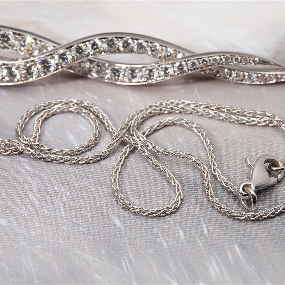 Picchiotti 18k White Gold 4.00cts VS1 F Diamond Twist Necklace