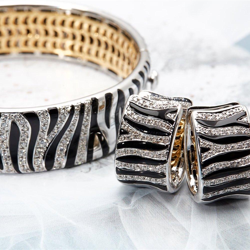 Roberto Coin 18k White & Yellow Gold Animalier Bracelet & Earring Set