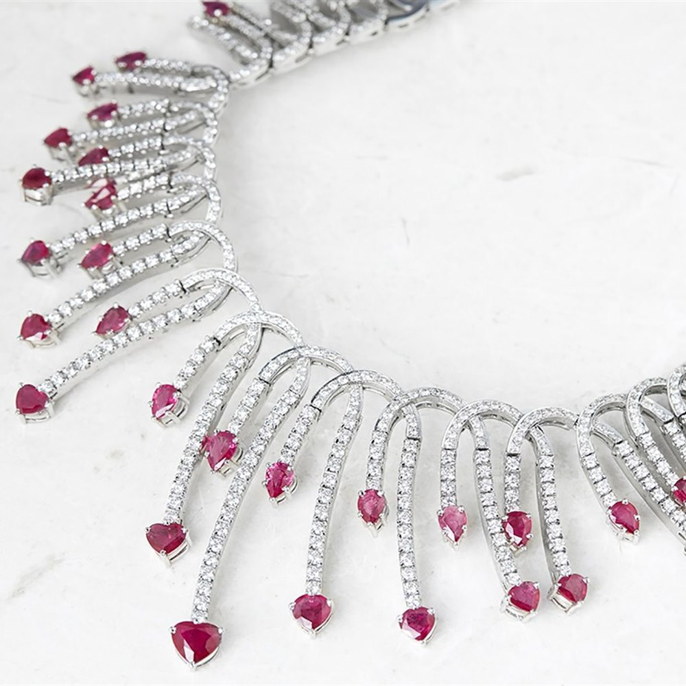 Unbranded 18k White Gold 24.09ct Diamond & 17.44ct Ruby Necklace