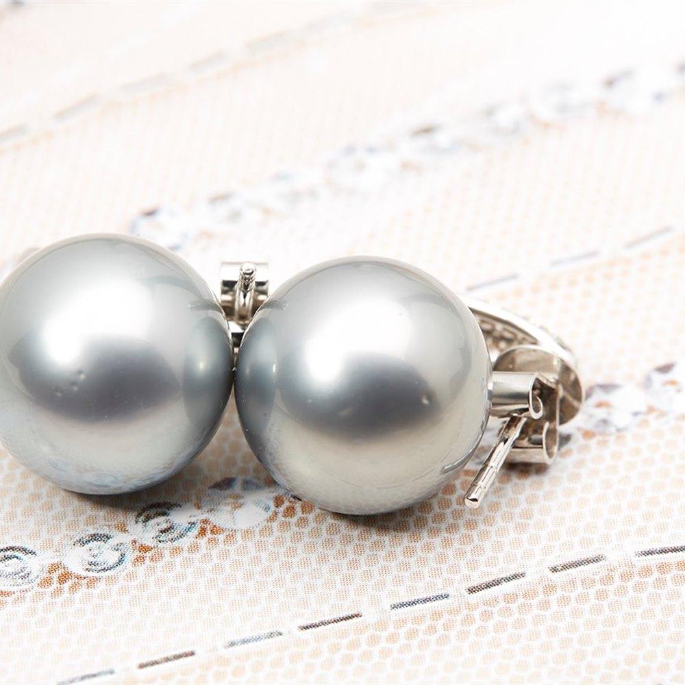 18k White Gold Tahitian Pearl and 0.25ct Diamond Earrings