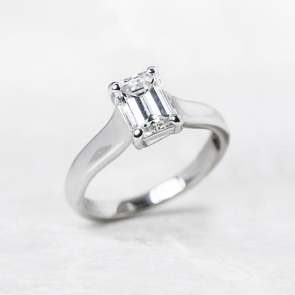 Platinum Emerald Cut 1.12ct Diamond Engagement Ring