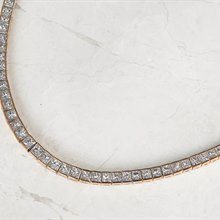 18k Rose Gold Princess Cut 20.00ct Diamond Necklace