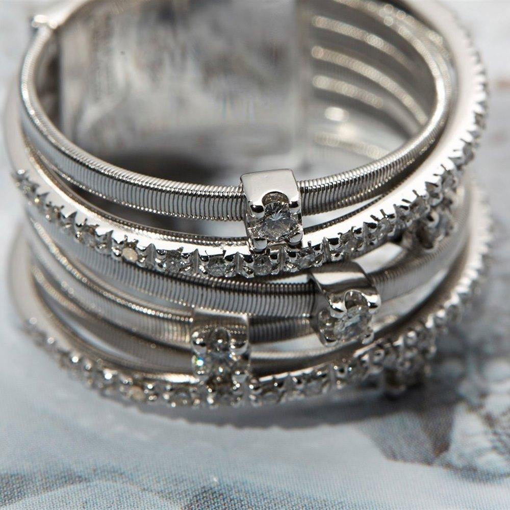 Marco Bicego 18k White Gold Seven Strand Diamond & Pave Ring