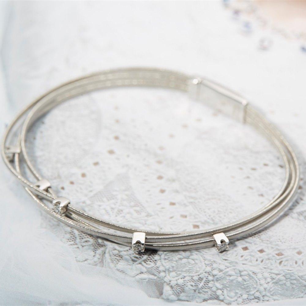 Marco Bicego 18k White Gold Three Row Diamond Bracelet