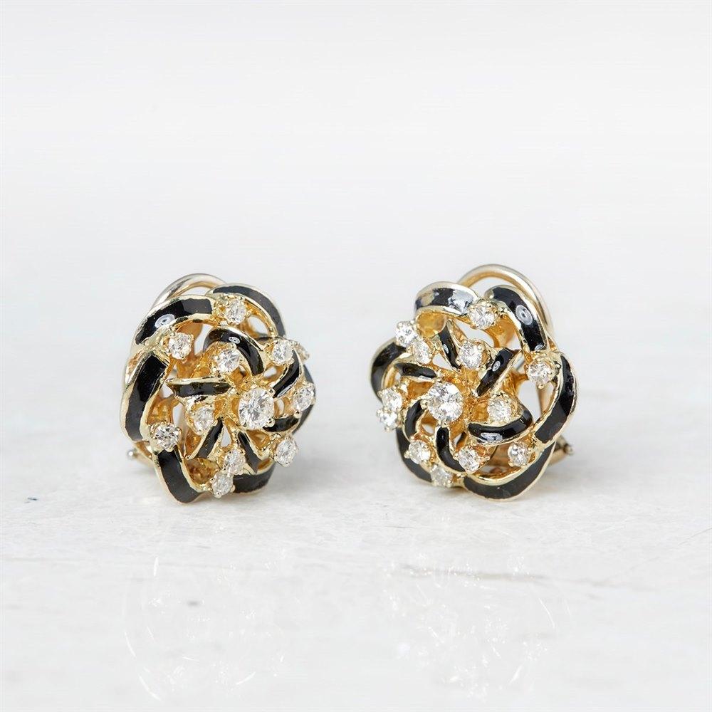 14k Yellow Gold 2.80ct Diamond Black Enamel Earrings
