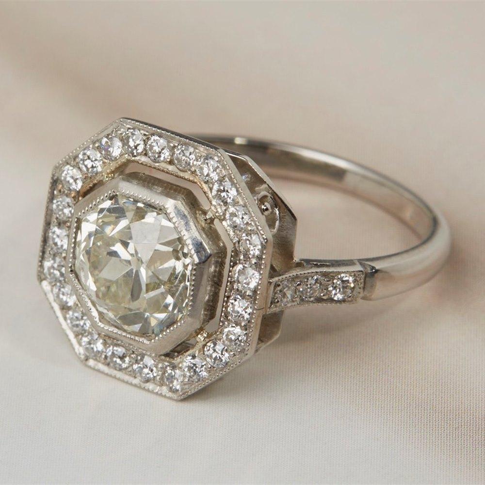 Platinum 2.15ct Old Cut Diamond Ring