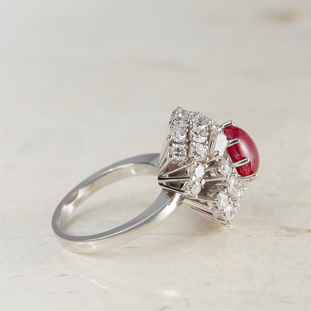 Vintage 18k White Gold Cabochon 2.00ct Ruby & 2.48ct Diamond Cocktail Ring