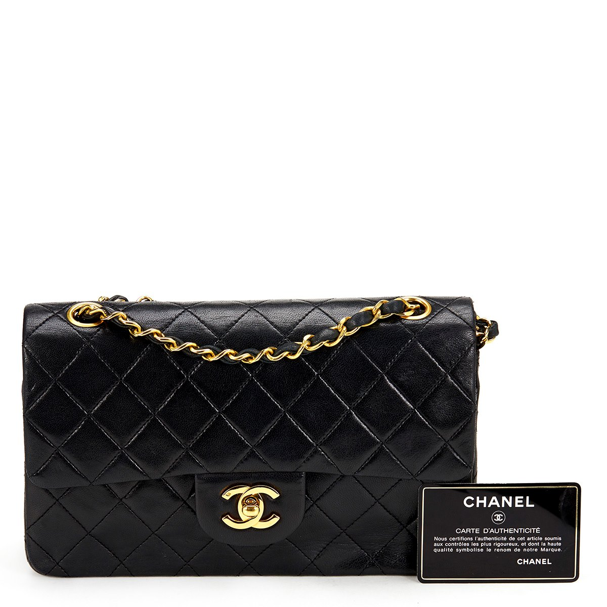 chanel small classic double flap bag 1987 hb265 second hand handbags. Black Bedroom Furniture Sets. Home Design Ideas