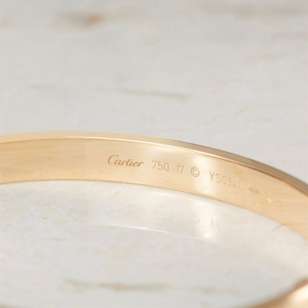 Cartier 18k Yellow Gold Cartier Love Bangle Size 17 Model Ref: B6035517 with Box and Screw Driver