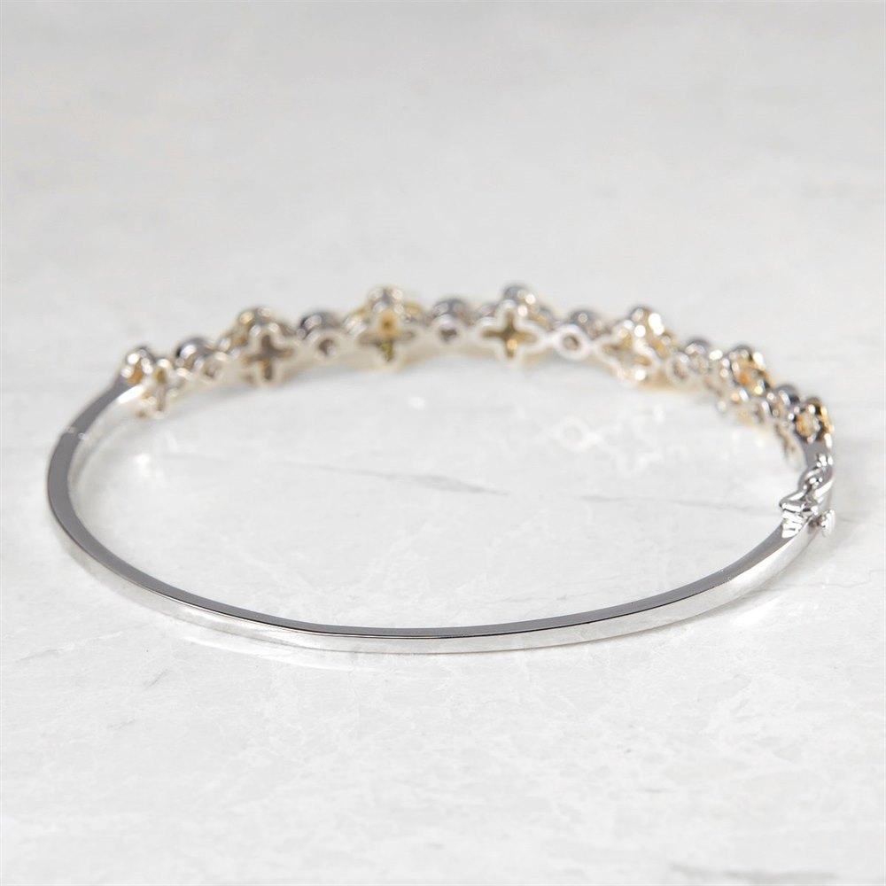 18k White Gold Fancy Yellow Diamond Floral Bangle