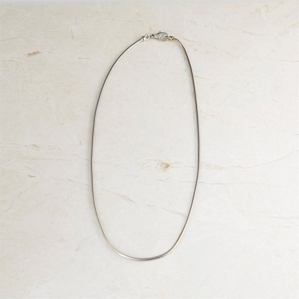 18k White Gold 1mm Snake Chain Necklace