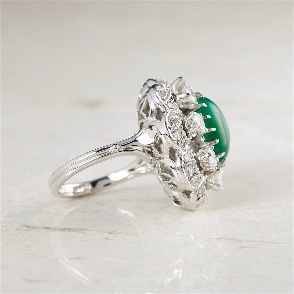 Platinum Cabochon 4.29ct Emerald & 1.92ct Diamond Cocktail Ring