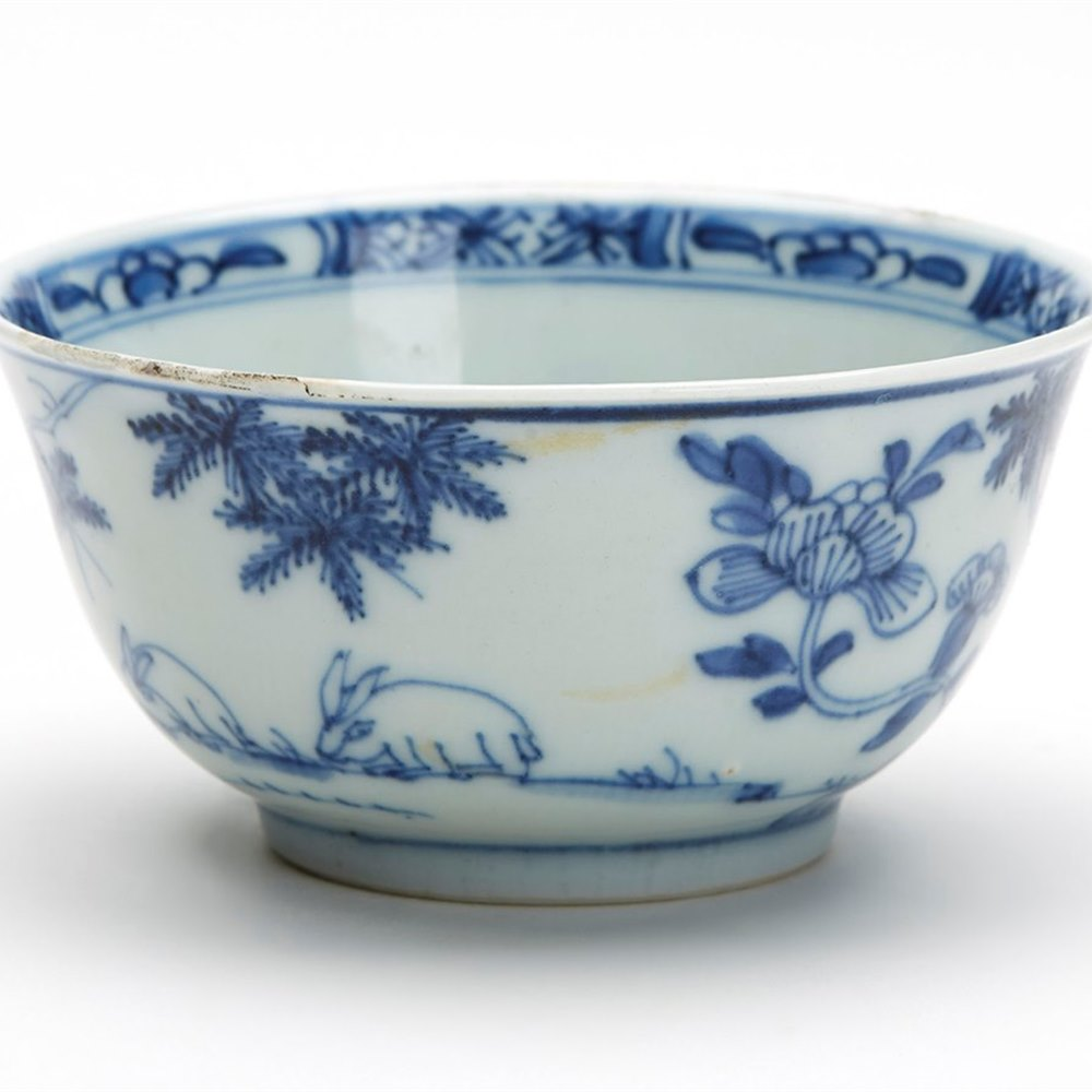 Antique Chinese Qing Grazing Rabbits Blue White Bowl 18 C