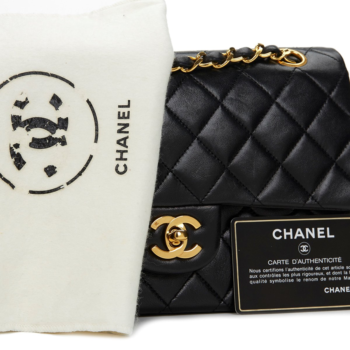 chanel small classic double flap bag 1986 hb480 second hand handbags. Black Bedroom Furniture Sets. Home Design Ideas