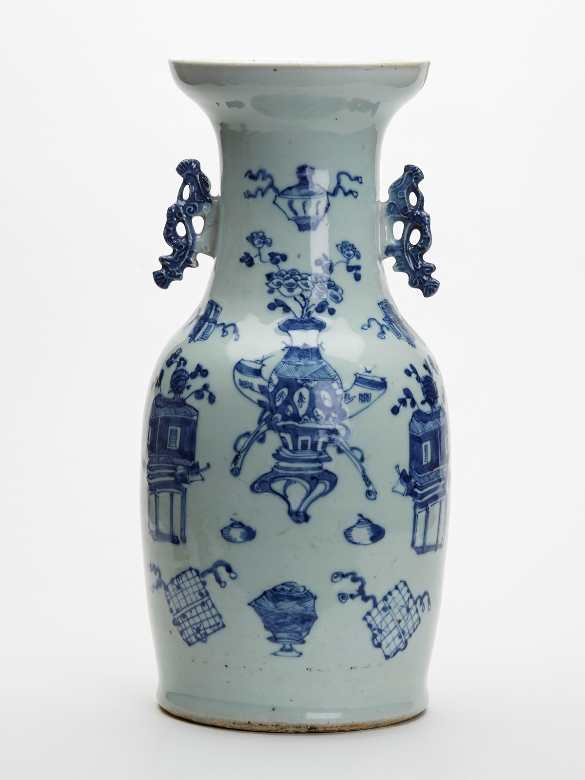 Large antique chinese celadon blue white vase 19th c ebay xupes guarantee reviewsmspy