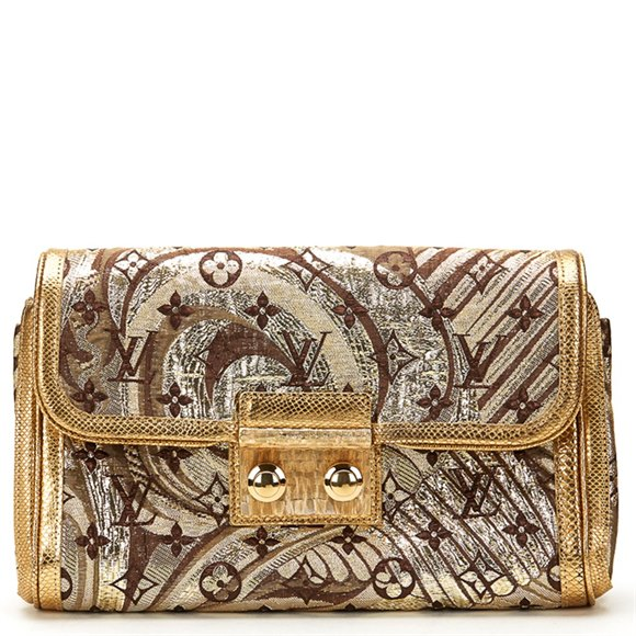 Louis Vuitton Gold Monogram Brocade Thalie Clutch