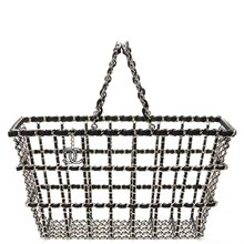 Chanel Silver & Black Calfskin Leather Fall 2014 Act 2 Basket Bag