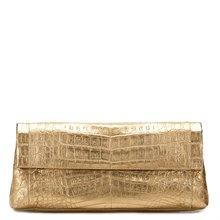 Nancy Gonzalez Gold Crocodile Leather Clutch