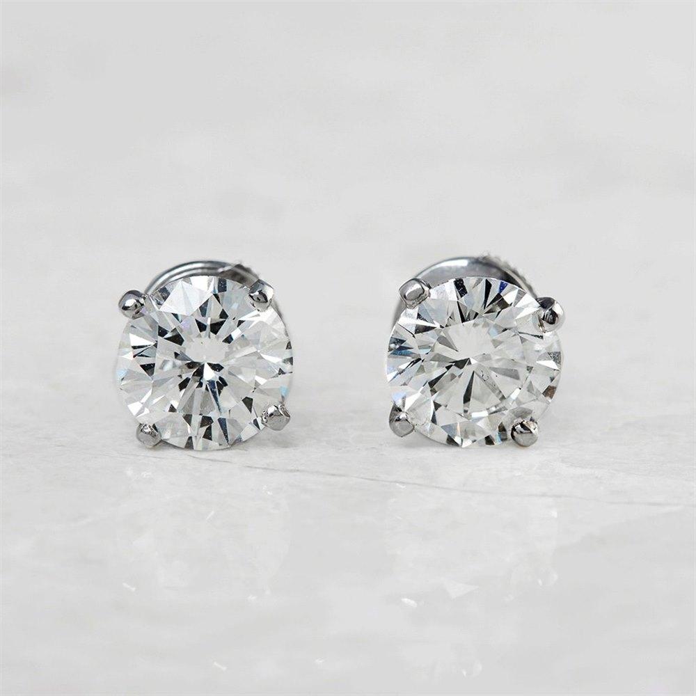 Cartier Platinum Round Brilliant Cut 4.03ct Diamond Stud Earrings